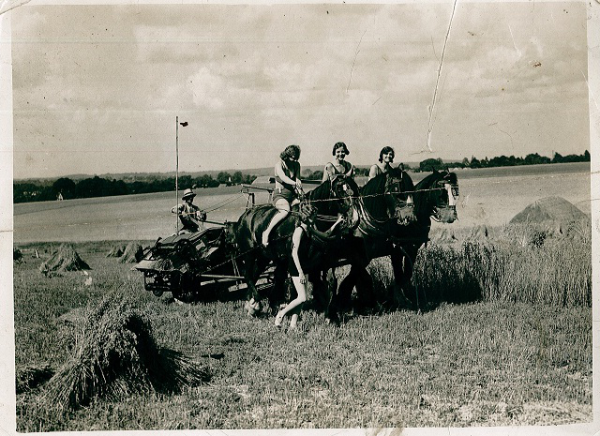 During WW2 a team of amazing land girls helped James Gray (driving the tractor) to keep the farm running.